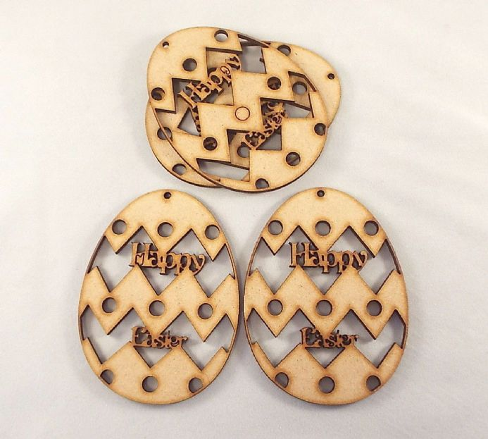WOODEN EASTER EGG  shapes Pack of 3  laser cut 3 mm MDF 95 mm x 70 mm